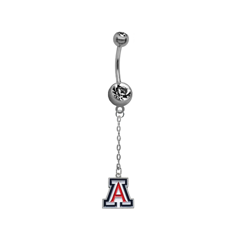Arizona Wildcats Dangle Chain Belly Button Navel Ring