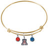 Arizona Wildcats Gold NCAA Expandable Wire Bangle Charm Bracelet