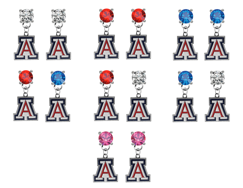 Arizona Wildcats NCAA Swarovski Crystal Stud Rhinestone Earrings
