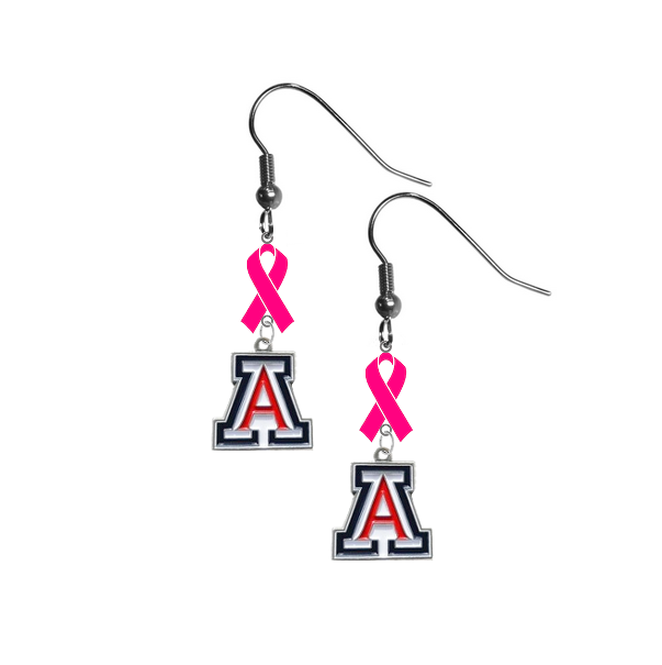 Arizona Wildcats Breast Cancer Awareness Hot Pink Ribbon Dangle Earrings