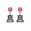Arizona Wildcats PINK Swarovski Crystal Stud Rhinestone Earrings