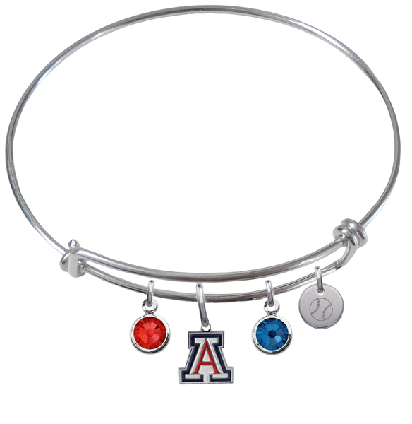 Arizona Wildcats Baseball Expandable Wire Bangle Charm Bracelet