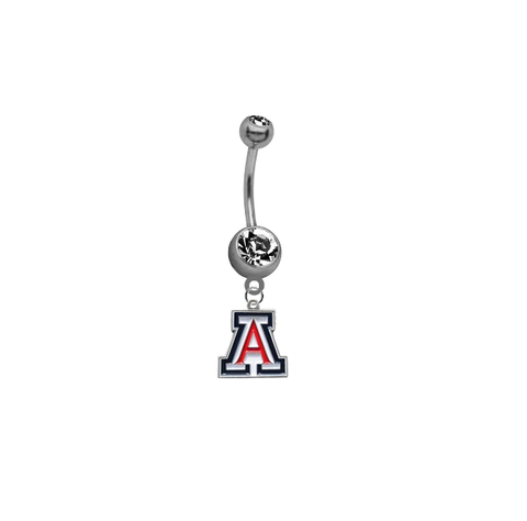 Arizona Wildcats SILVER College Belly Button Navel Ring