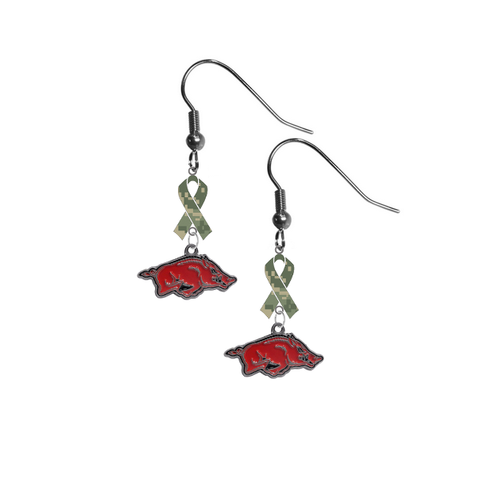 Arkansas Razorbacks Salute to Service Camouflage Camo Ribbon Dangle Earrings