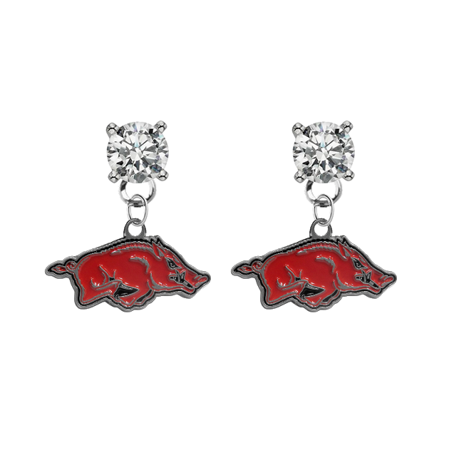 Arkansas Razorbacks CLEAR Swarovski Crystal Stud Rhinestone Earrings