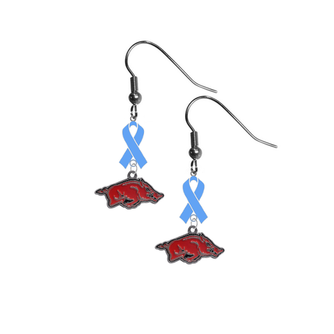 Arkansas Razorbacks Prostate Cancer Awareness Light Blue Ribbon Dangle Earrings