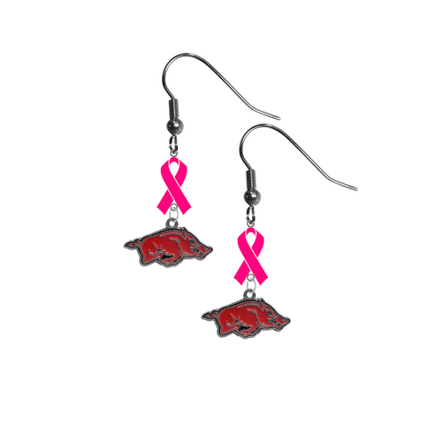 Arkansas Razorbacks Breast Cancer Awareness Hot Pink Ribbon Dangle Earrings