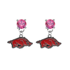 Arkansas Razorbacks PINK Swarovski Crystal Stud Rhinestone Earrings