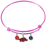 Arkansas Razorbacks Pink NFL Expandable Wire Bangle Charm Bracelet