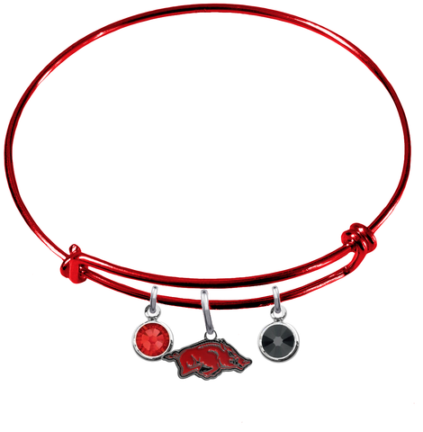 Arkansas Razorbacks Red NFL Expandable Wire Bangle Charm Bracelet