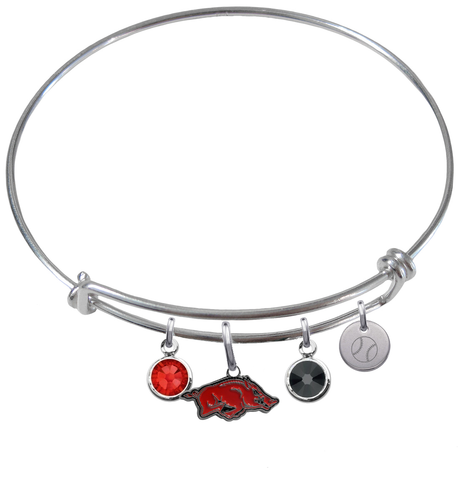 Arkansas Razorbacks Baseball Expandable Wire Bangle Charm Bracelet