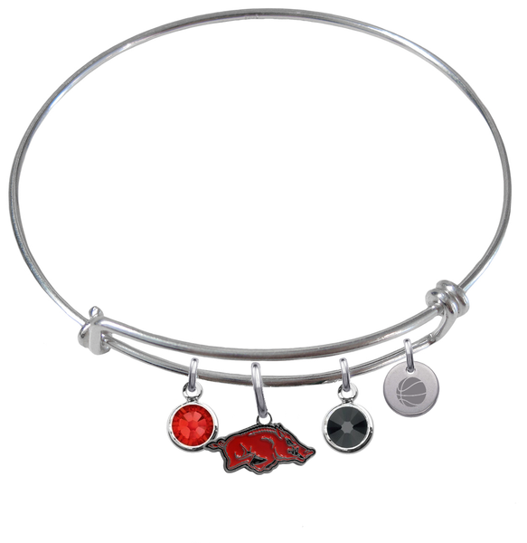 Arkansas Razorbacks Basketball Expandable Wire Bangle Charm Bracelet