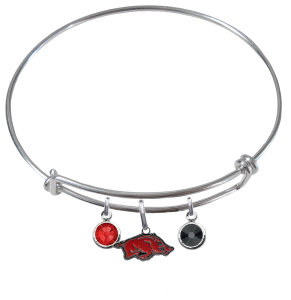 Arkansas Razorbacks NCAA Expandable Wire Bangle Charm Bracelet
