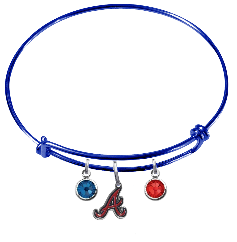Atlanta Braves Blue MLB Expandable Wire Bangle Charm Bracelet