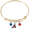 Atlanta Braves Gold MLB Expandable Wire Bangle Charm Bracelet