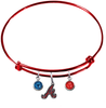 Atlanta Braves Red MLB Expandable Wire Bangle Charm Bracelet