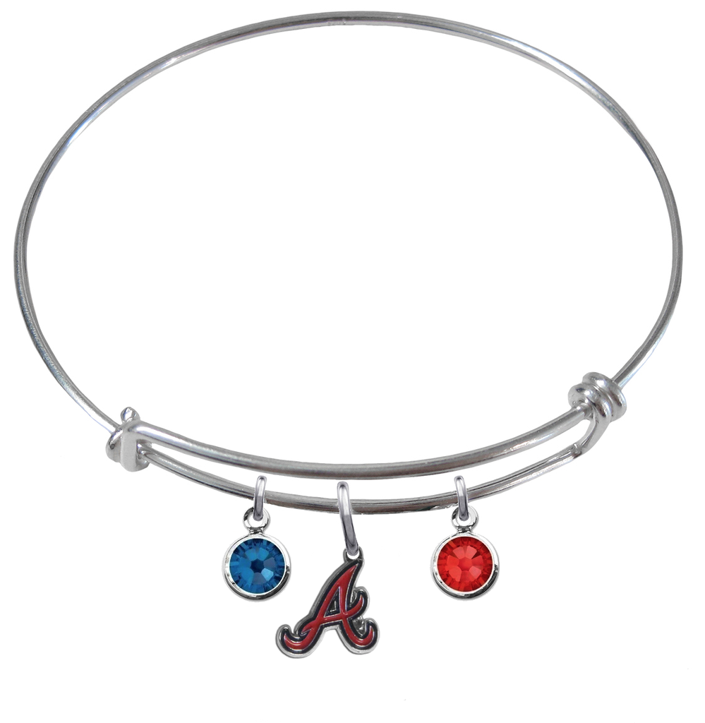 Atlanta Braves MLB Expandable Wire Bangle Charm Bracelet