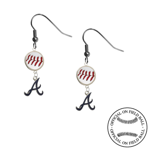 Atlanta Braves Style 3 MLB Authentic Rawlings On Field Leather Baseball Dangle Earrings