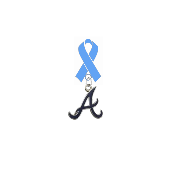 Atlanta Braves Style 3 MLB Prostate Cancer Awareness / Fathers Day Light Blue Ribbon Lapel Pin