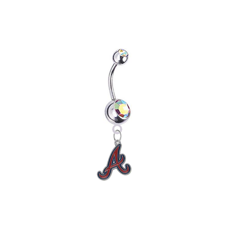 Atlanta Braves Silver Auora Borealis Swarovski Belly Button Navel Ring - Customize Gem Colors