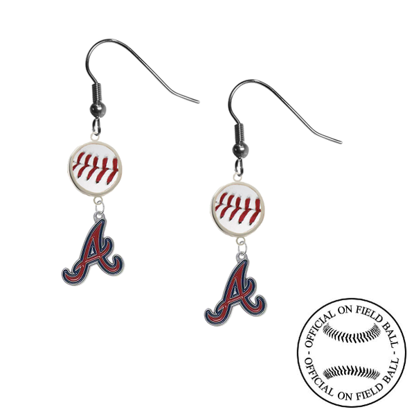 Atlanta Braves MLB Authentic Rawlings On Field Leather Baseball Dangle Earrings