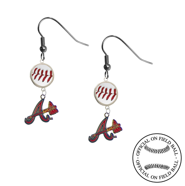 Atlanta Braves Style 2 MLB Authentic Rawlings On Field Leather Baseball Dangle Earrings