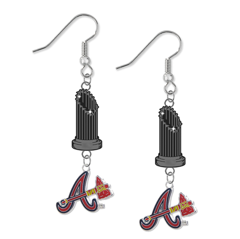 Atlanta Braves Style 2 MLB World Series Trophy Dangle Earrings