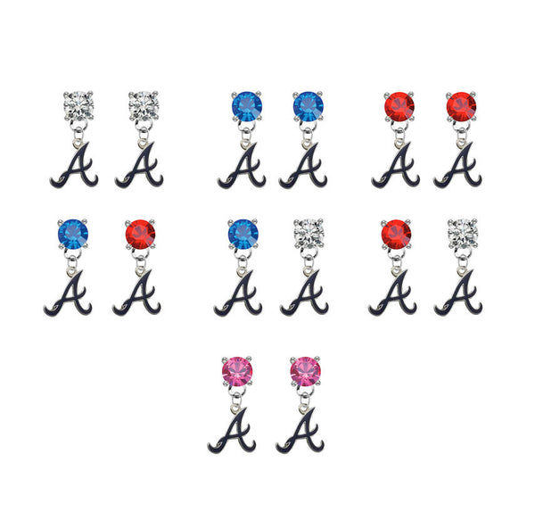 Atlanta Braves Style 2 MLB Swarovski Crystal Stud Rhinestone Earrings