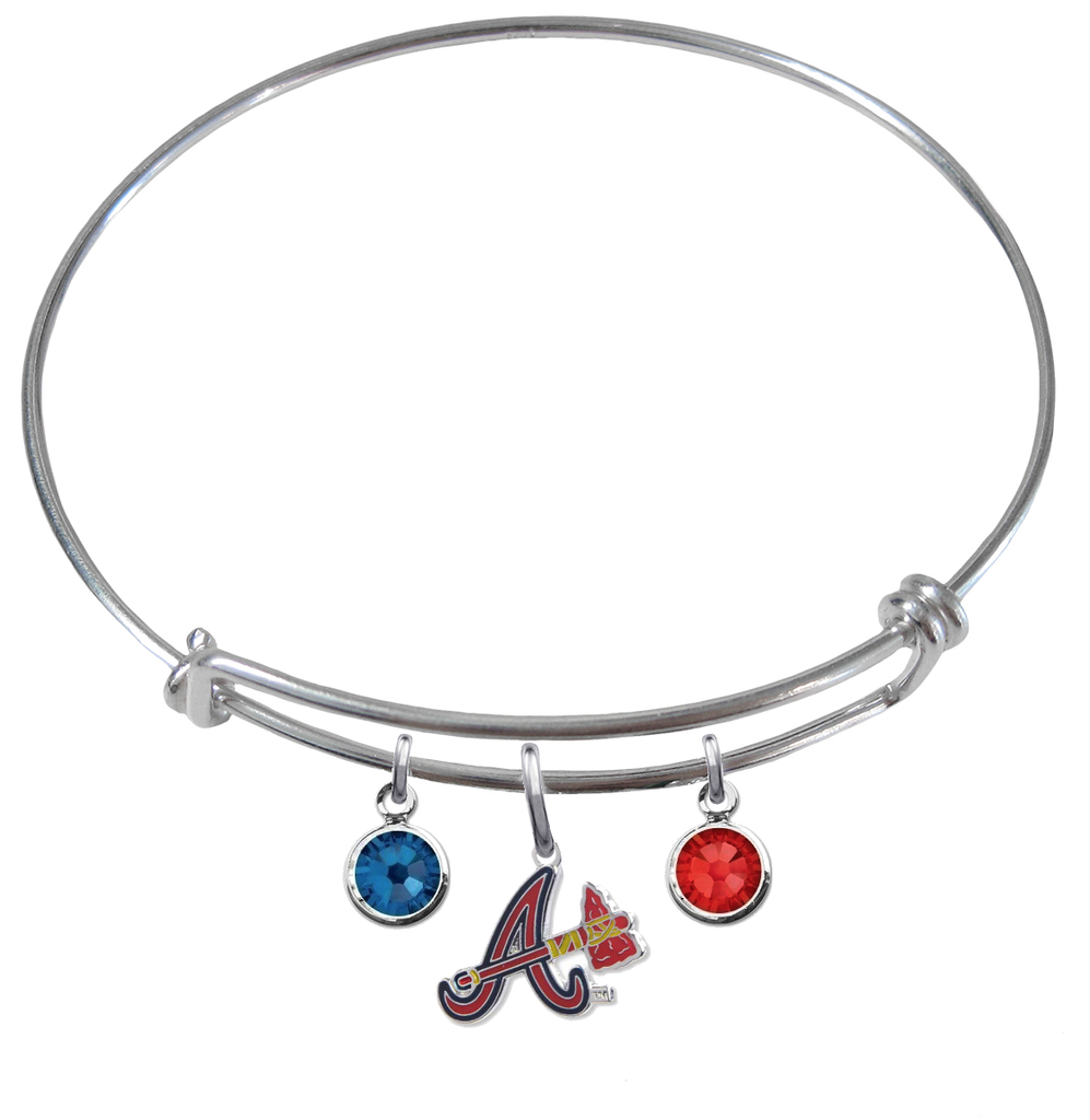 Atlanta Braves Style 2 MLB Expandable Wire Bangle Charm Bracelet