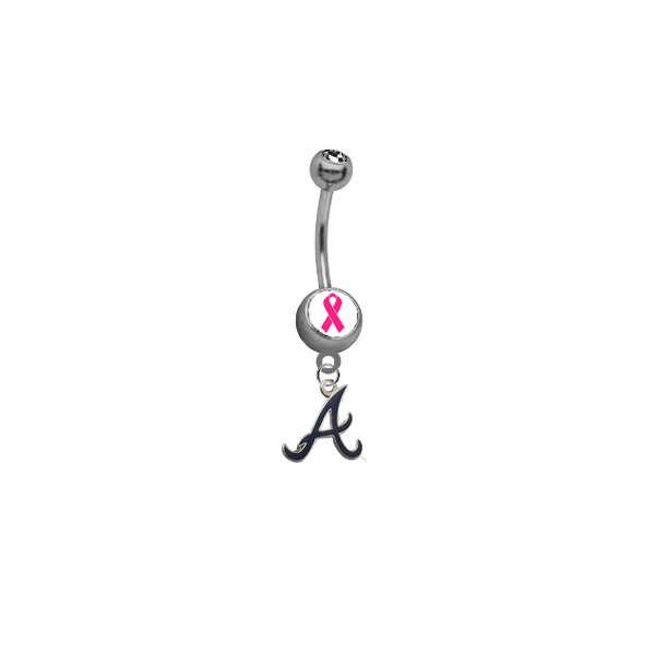 Atlanta Braves Style 3 Breast Cancer Awareness Belly Button Navel Ring