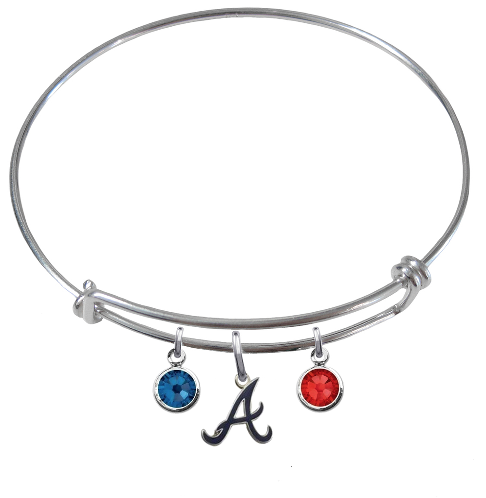 Atlanta Braves Style 3 MLB Expandable Wire Bangle Charm Bracelet