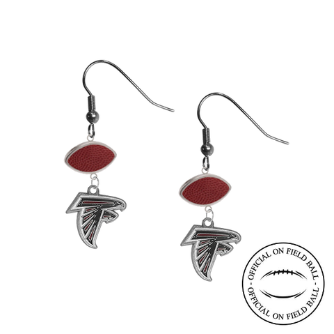 Atlanta Falcons NFL Authentic Official On Field Leather Football Dangle Earrings