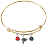 Atlanta Falcons Gold NFL Expandable Wire Bangle Charm Bracelet