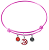 Atlanta Hawks PINK Color Edition Expandable Wire Bangle Charm Bracelet