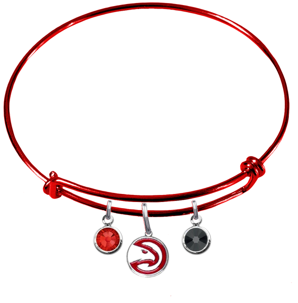 Atlanta Hawks RED Color Edition Expandable Wire Bangle Charm Bracelet