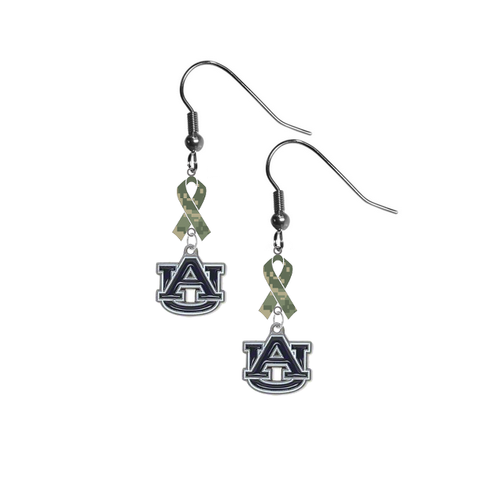 Auburn Tigers Salute to Service Camouflage Camo Ribbon Dangle Earrings
