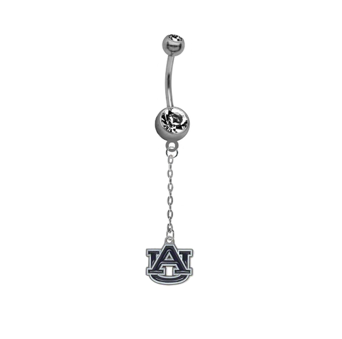 Auburn Tigers Dangle Chain Belly Button Navel Ring