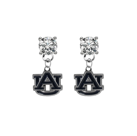 Auburn Tigers CLEAR Swarovski Crystal Stud Rhinestone Earrings
