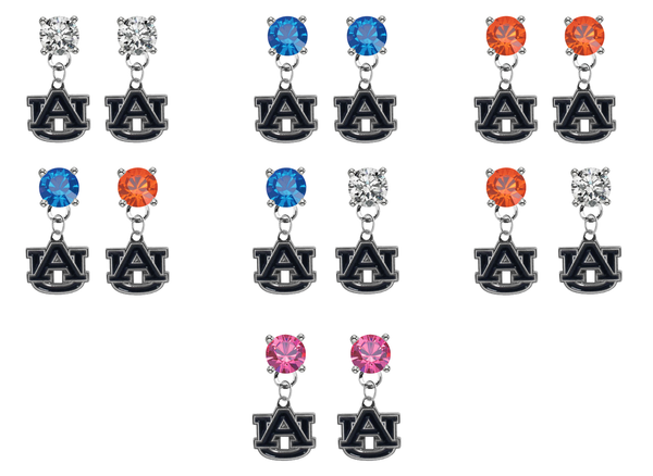 Auburn Tigers NCAA Swarovski Crystal Stud Rhinestone Earrings