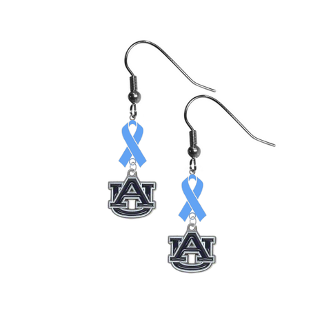 Auburn Tigers Prostate Cancer Awareness Light Blue Ribbon Dangle Earrings