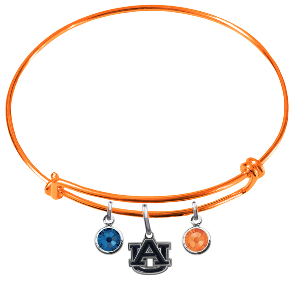 Auburn Tigers Orange NFL Expandable Wire Bangle Charm Bracelet
