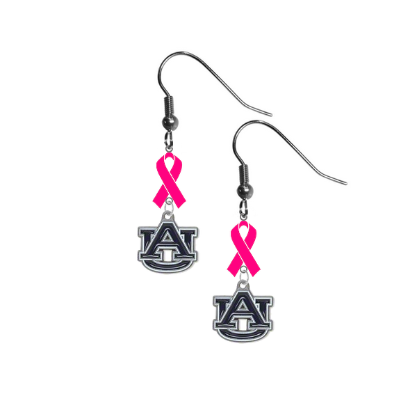 Auburn Tigers Breast Cancer Awareness Hot Pink Ribbon Dangle Earrings
