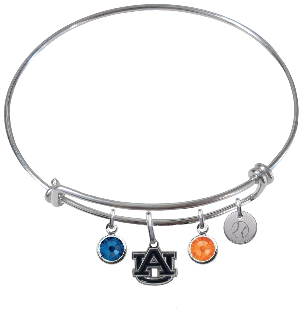 Auburn Tigers Baseball Expandable Wire Bangle Charm Bracelet