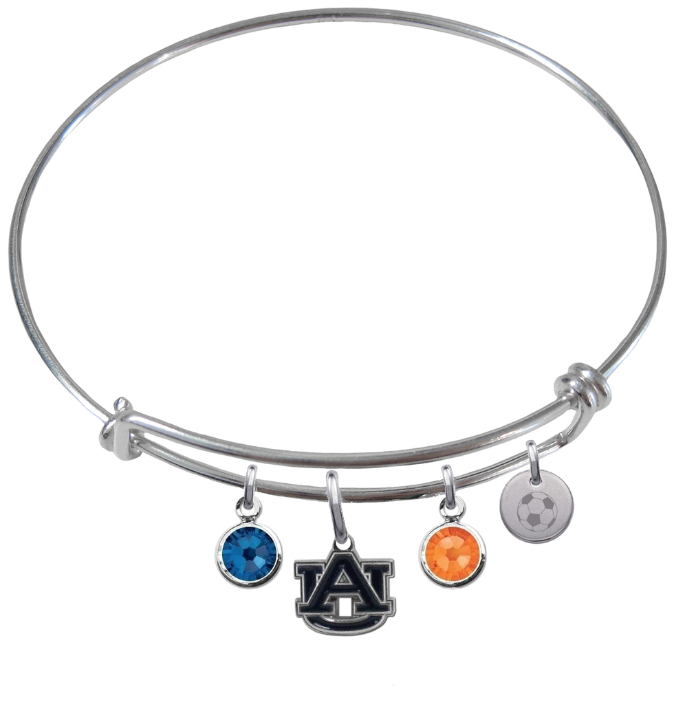 Auburn Tigers Soccer Expandable Wire Bangle Charm Bracelet