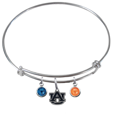 Auburn Tigers NCAA Expandable Wire Bangle Charm Bracelet
