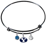 BYU Brigham Young Cougars Black Expandable Wire Bangle Charm Bracelet