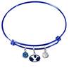 BYU Brigham Young Cougars Blue Expandable Wire Bangle Charm Bracelet