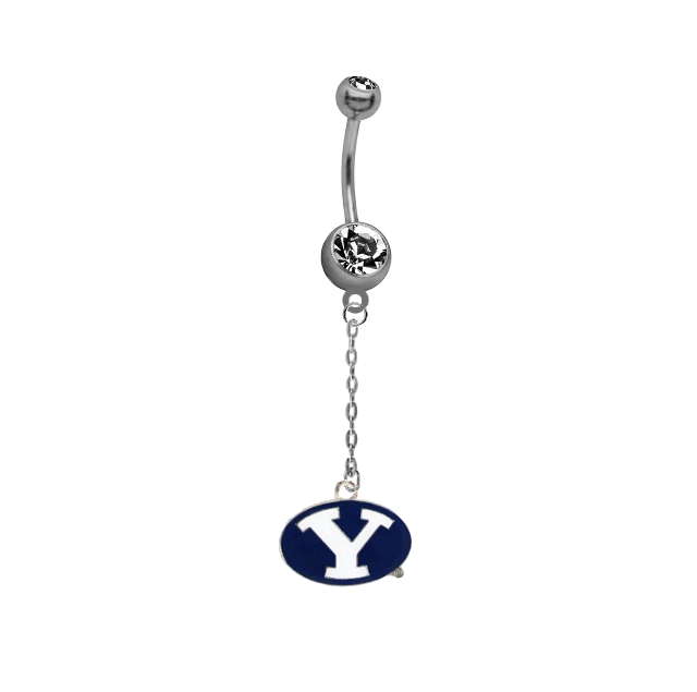 BYU Brigham Young Cougars Dangle Chain Belly Button Navel Ring