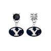 BYU Brighgam Young Cougars BLACK & CLEAR Swarovski Crystal Stud Rhinestone Earrings