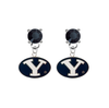 BYU Brighgam Young Cougars BLACK Swarovski Crystal Stud Rhinestone Earrings